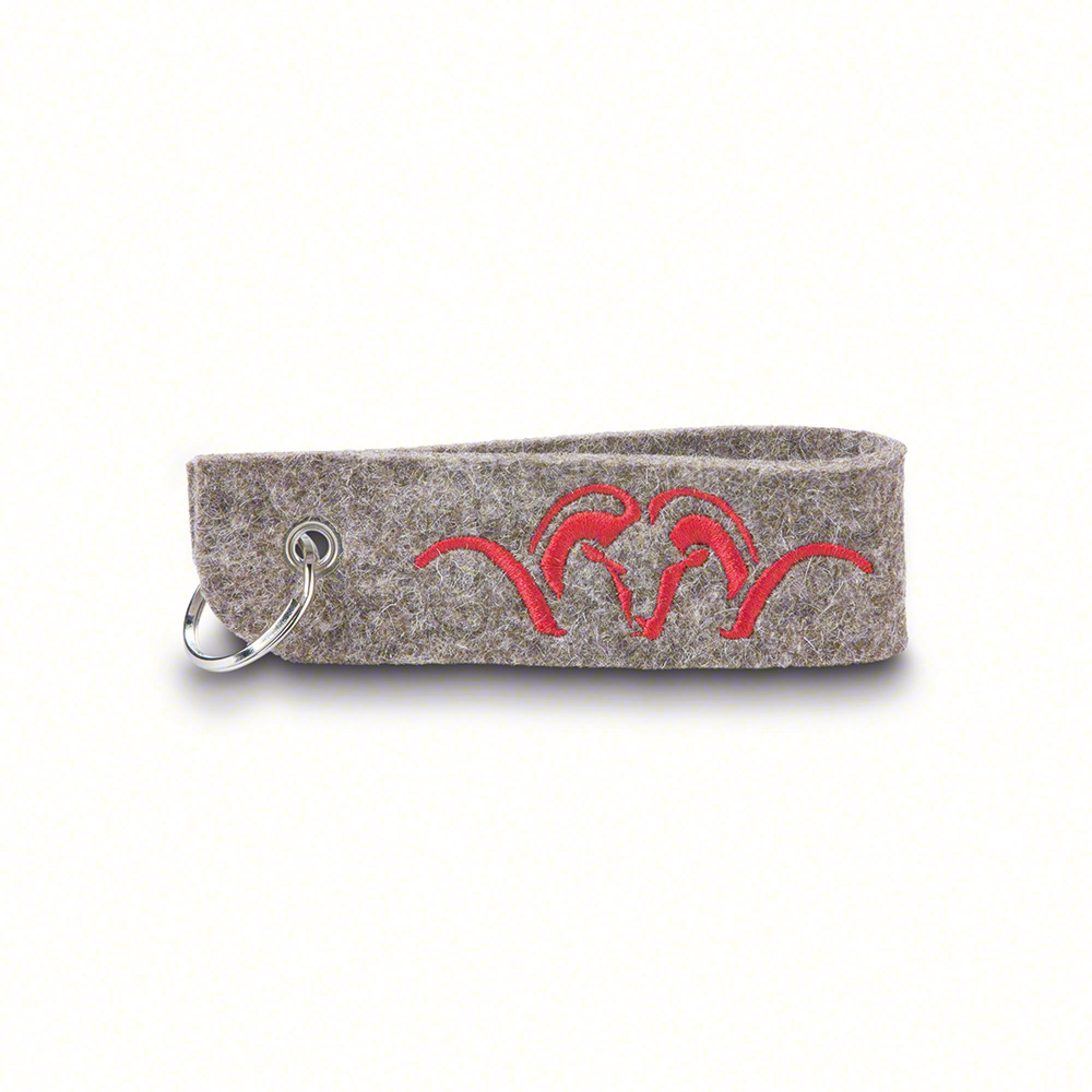 Felt strap key chain with red embroidery