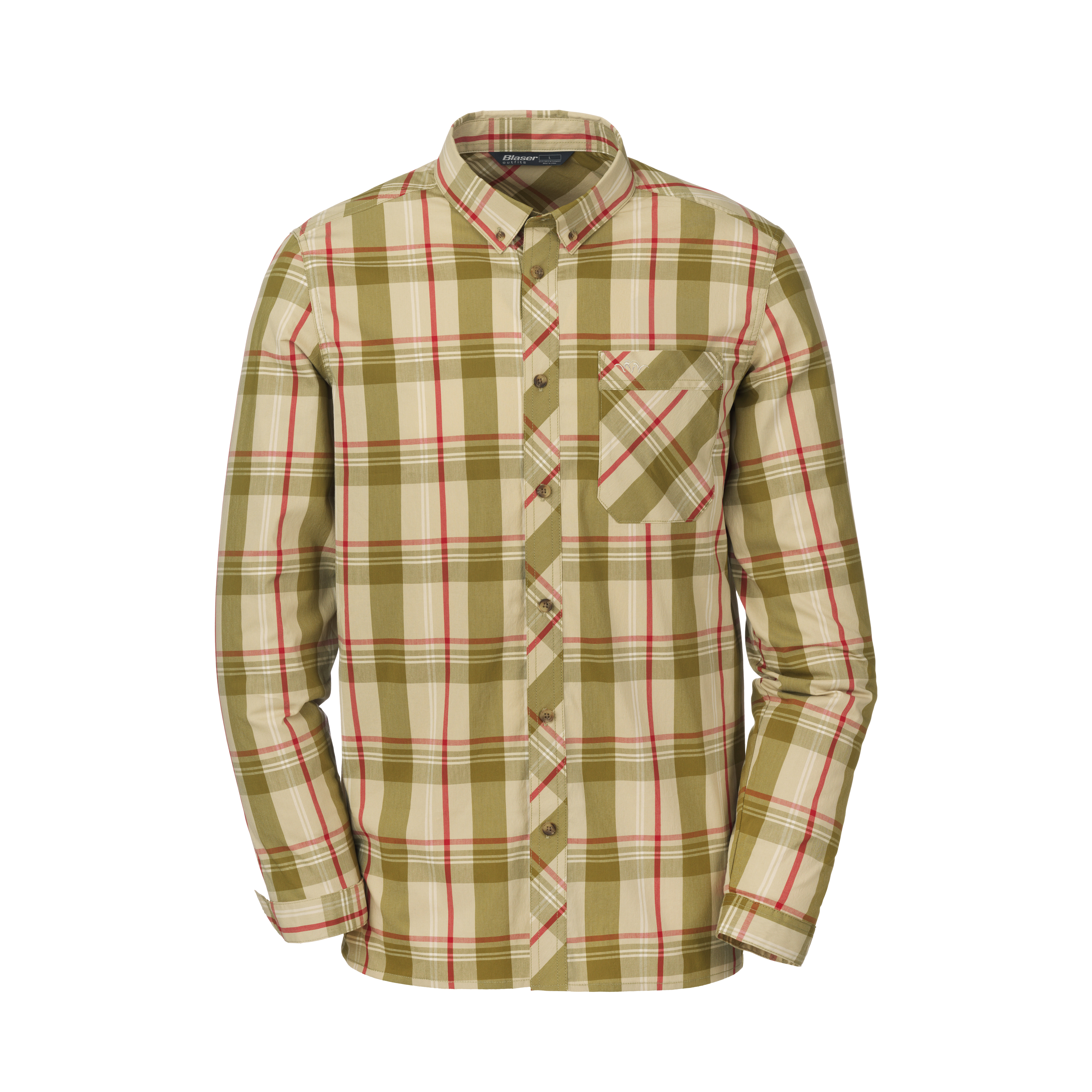 Harald - Stretch Shirt - Olive / Beige Chequered