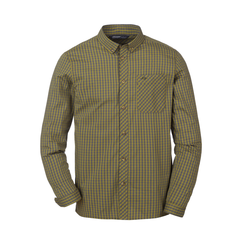 Serge - Stretch Shirt - Olive / Grey Chequered